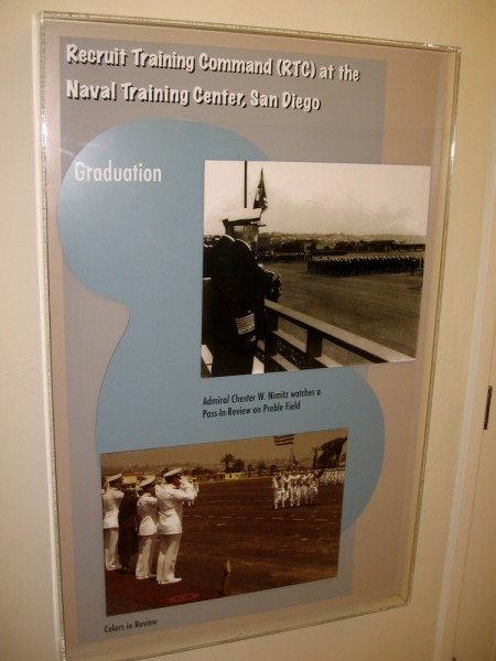 Graduation at Naval Training Center San Diego. One photo shows Admiral Nimitz watching a Pass-In-Review at Preble Field.
