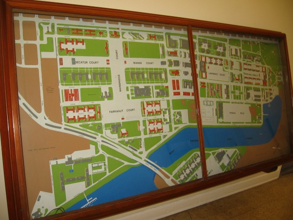 A large map of the old Naval Training Center San Diego, which today has been transformed into Liberty Station, which features shopping, parks, museums and more.