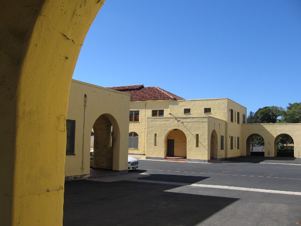 Photo of vacant old Naval Training Center buildings waiting to be restored and put to use commercially at Liberty Station.
