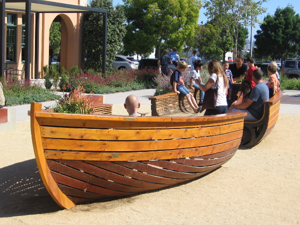 Families and kids love the small USS Brave boat bench at Liberty Station.