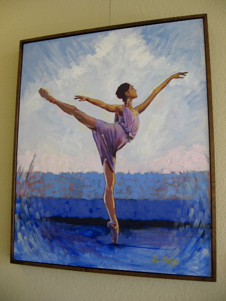 Lavendar Ballerina by Jori Owens, one of many paintings on display in the main hallway of the Dance Place San Diego at Liberty Station.