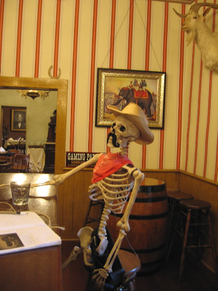 A bony customer at the bar. That must have been a stiff drink.