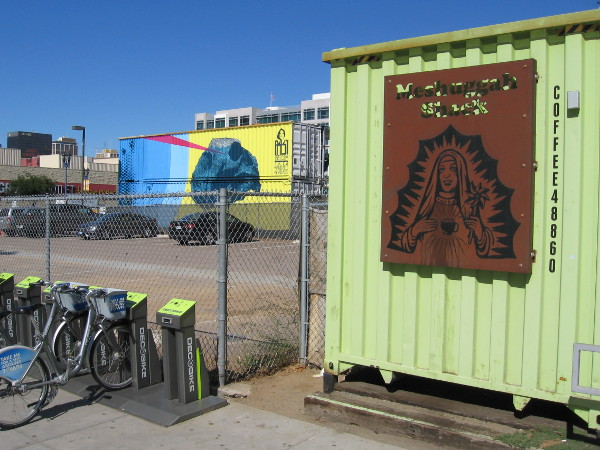 The Meshuggah Shack occupies one shipping container. The funky place is known for their great coffee and friendly vibe.