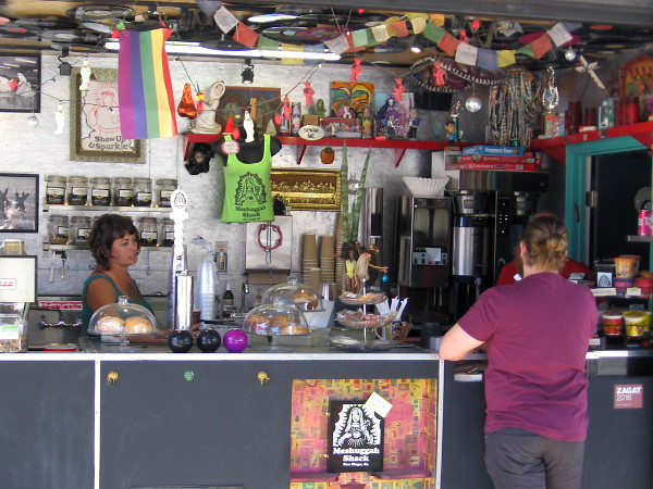 The Meshuggah Shack offers coffee, tea, oddities, smoothies, noshes, and other fun stuff.