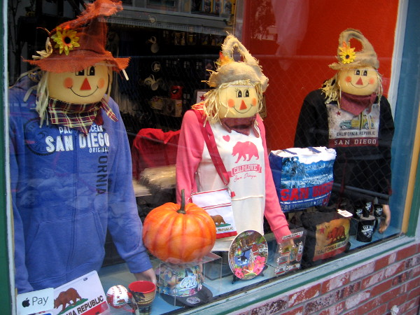 And here we have some happy scarecrows and a pumpkin. Autumn has come to downtown San Diego!
