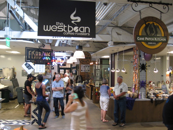 A busy Saturday inside the new and very popular indoor Liberty Public Market.