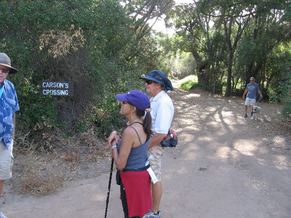 Kit Carson crossing is an historically important spot in Peñasquitos Canyon. Kit Carson crossed the creek here during the Mexican-American War. General Kearny's US Army of the West was faced with formidable Californio lancers in San Pasqual, and the legendary frontiersman Kit Carson snuck away in the middle of the night to summon reinforcements from San Diego. The later 1857 Jackass Mail stagecoach line also ran through here enroute to San Diego.