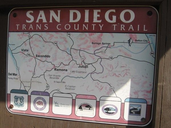 Sign shows proposed San Diego Trans County Trail, which when completed would run from the Pacific Ocean over the mountains east of San Diego and out to the Salton Sea in the desert.
