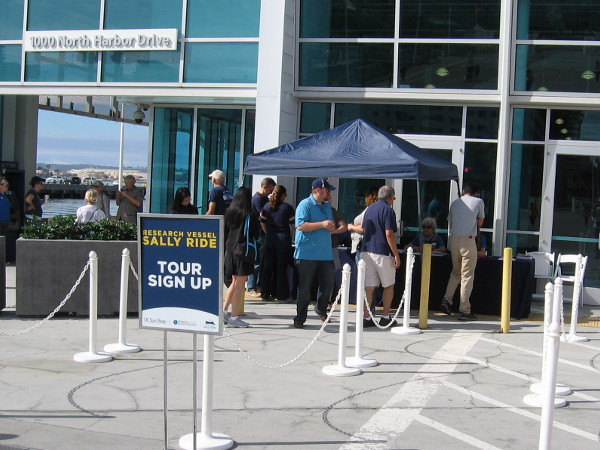 The free public tours of RV Sally Ride drew a good crowd on a Sunday in October, 2016. These people smartly arrived an hour early to reserve a time slot.