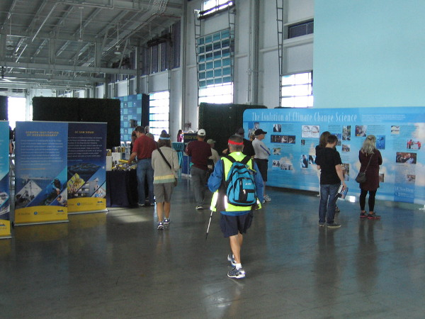 The tour began inside the Port Pavilion on Broadway Pier. Many displays highlighted the work of UCSD's Scripps Institution of Oceanography.