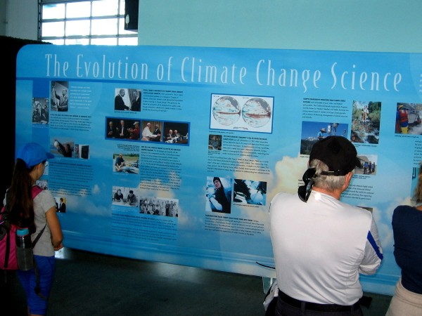 A large display goes over the history of The Evolution of Climate Change Science. UCSD scientists have made important contributions in this field.
