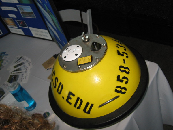 Floating device used to measure ocean wave characteristics.