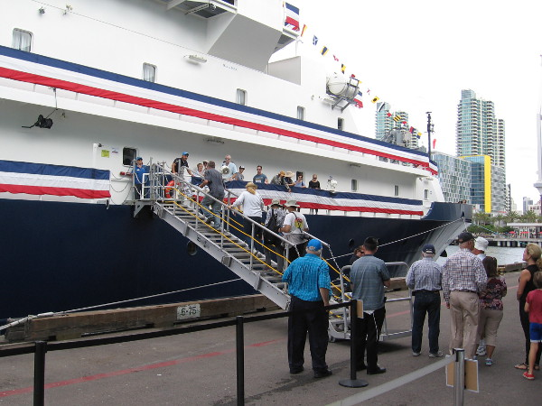 Visitors eagerly head up the gangplank to explore America's newest, most advanced research ship.