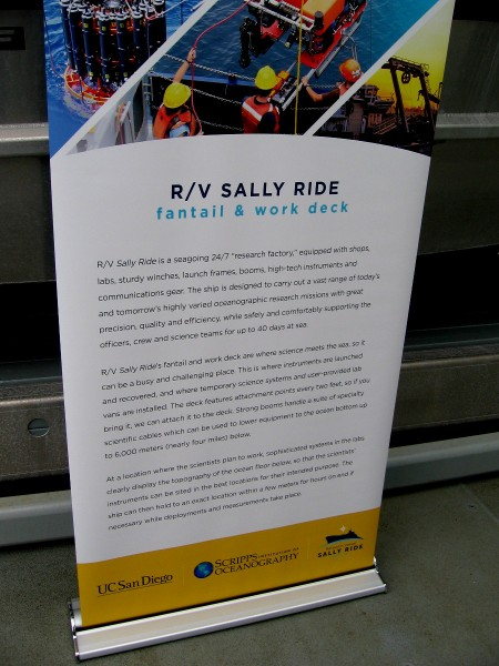 RV Sally Ride is equipped with shops, labs, winches, launch frames, booms and the newest scientific instruments and communication gear. The busy fantail and work deck are where science meets the sea.