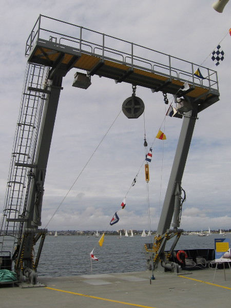 The gigantic A-Frame at the stern of RV Sally Ride can lift loads up to 30,000 pounds! Wire and cable deploy towed instruments. Moorings and acoustic equipment are also deployed in this manner.