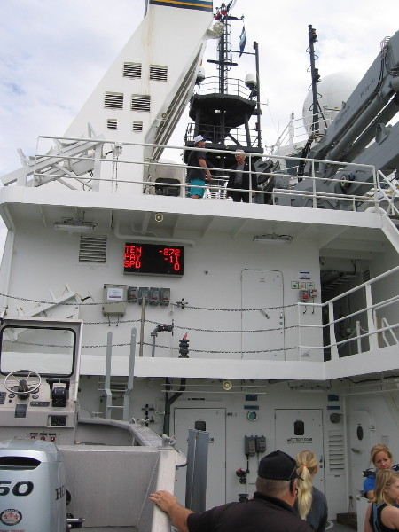 Looking forward and up, we see several levels to the ship. If I understand correctly, the electronic display indicates a cable's tension, payout and speed.