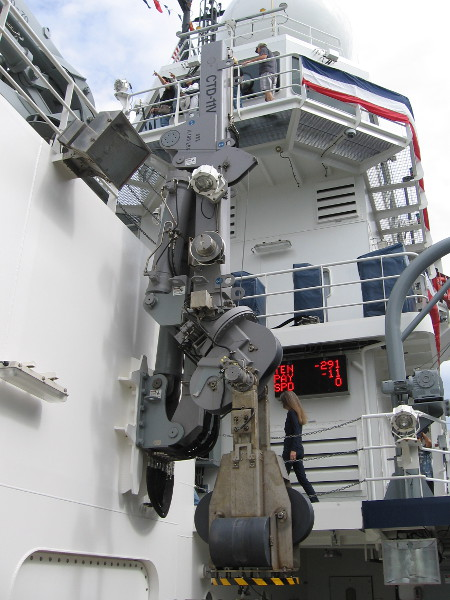 One of two mechanical arms used to lower sensors, nets, and other oceanographic equipment into the water. They are called LARS, which stands for launch and recovery systems.