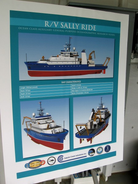 A poster inside the RV Sally Ride's staging bay details the ship's main characteristics.