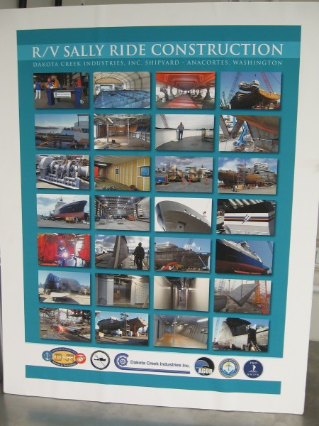 Another poster contains photos taken during RV Sally Ride's construction.