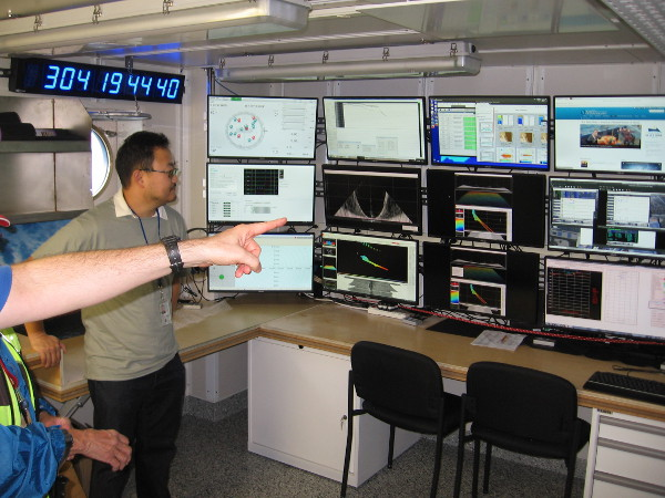 Now we've arrived at the ship's nerve center, the control station for CTD operations. Here scientists monitor ship location, sensor readouts, and trip bottles to collect samples.