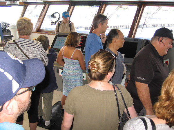 The high tech pilot house, or bridge, attracted a big crowd of curious visitors!