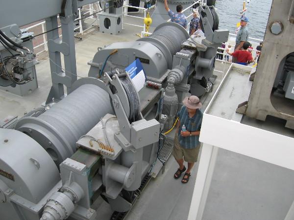 Two impressive winches aboard RV Sally Ride.