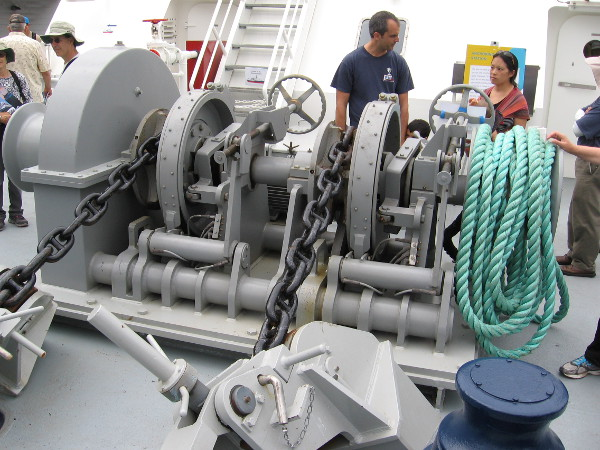 RV Sally Ride has three anchors, each weighing 5,000 pounds. Two are on either side of the bow and the third is a spare. Each anchor is connected to 720 feet of chain, which is stored below decks.