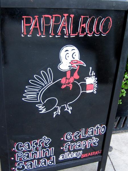 I spotted a turkey drinking coffee as I walked down a sidewalk.
