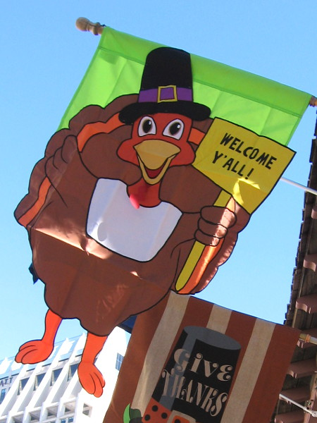 This happy turkey dressed like a Pilgrim has taken to the sky to welcome y'all!