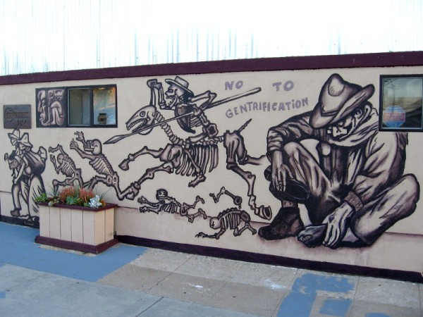 The mural transmits great emotion. Many in the Barrio Logan community oppose gentrification.