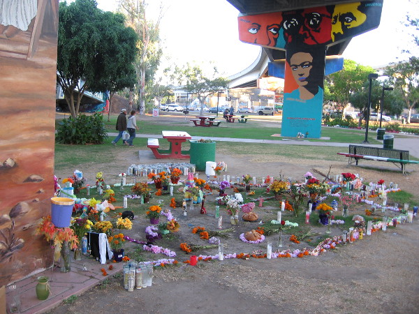 A large memorial remains in Chicano Park, almost four weeks after a tragic accident here took the lives of four people.