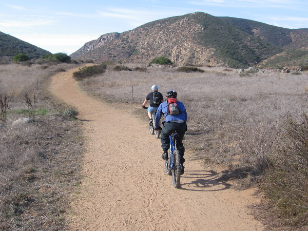 Mountain bikers enjoy a warm, sunny morning at Mission Trails Regional Park.