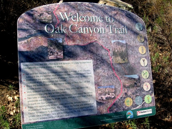 Sign at one end of the Oak Canyon Trail, near the Old Mission Dam.