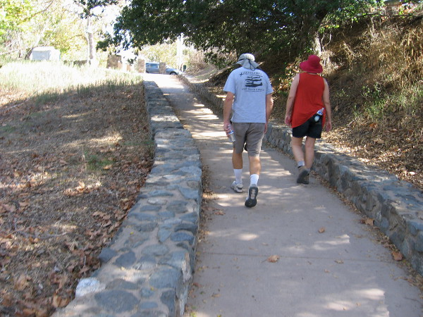 Heading to the parking lot by the Old Mission Dam, also called the Padre Dam.