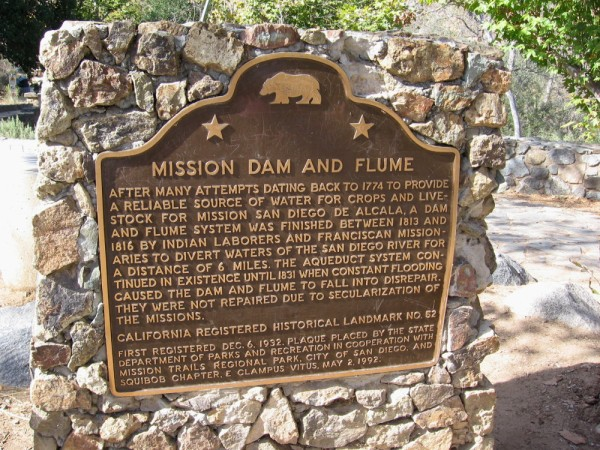 The site is a California historical landmark. A dam and flume system was finished between 1813 and 1816 by Indian laborers and Franciscan missionaries. It provided a reliable source of water for crops and livestock for Mission San Diego de Alcala. The system continued until 1831 when it fell into final disrepair.