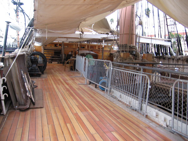 One side of the Star of India's main deck now appears as it did when the ship was brand new, 153 years ago!