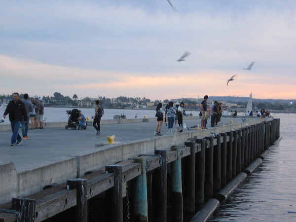 People stroll out on the pier near Seaport Village while gulls circle overhead and the sky changes color.
