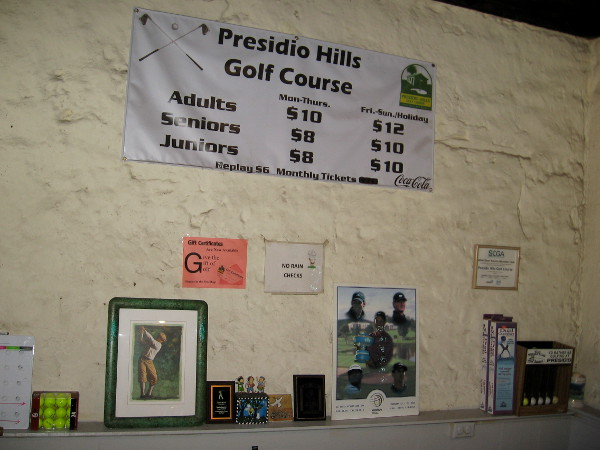 The easy Presidio Hills Golf Course is a great place to learn golf--ideal for families and kids. And one gets a history lesson, too!