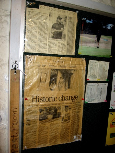 An old newspaper article displayed in the pro shop includes a photo of 8-year-old Tiger Woods. He is showing off his Junior World trophy captured at Presidio Hills, where he won two titles.