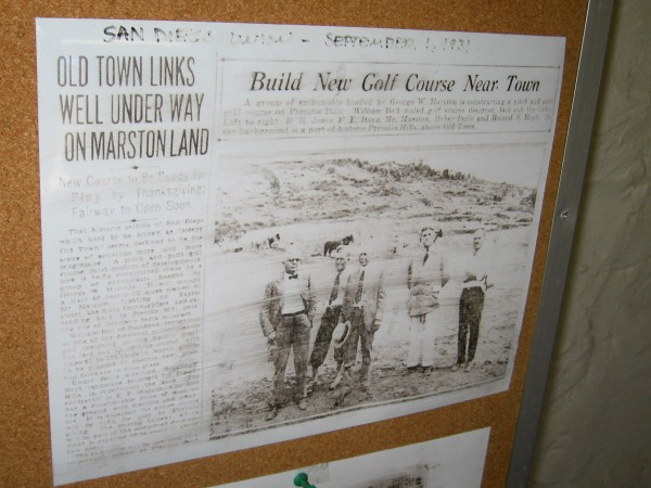 San Diego Union September 1, 1931. Old Town Links Well Under Way On Marston Land.