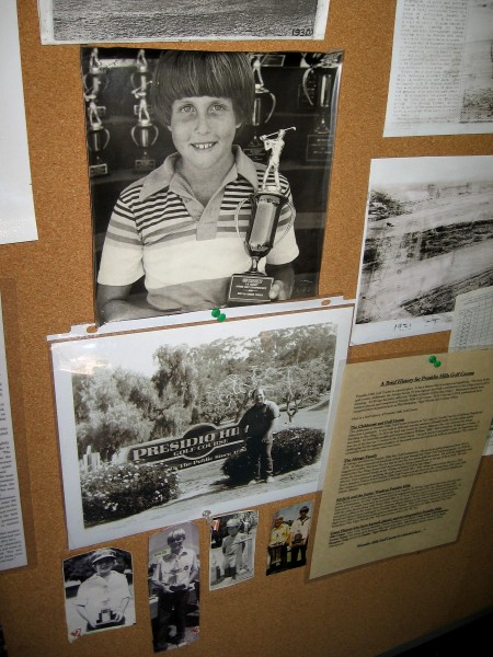 Various photos of Presidio Hills Golf Course history inside the Pro Shop. Phil Mickelson and Craig Stadler are two notable golfers from San Diego.