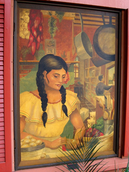 Window mural painted by San Diego artist Joel Sharp in 1996. You can find it in Seaport Village at Margaritas Kitchen and Cantina.