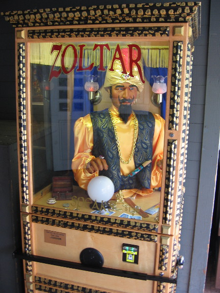 Zoltar the fortune teller will read your future from his own small window.
