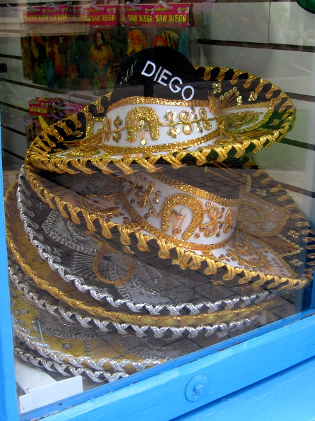 Tourists might take home a glittery San Diego sombrero once they glimpse these in the window of Mexican Fiesta.