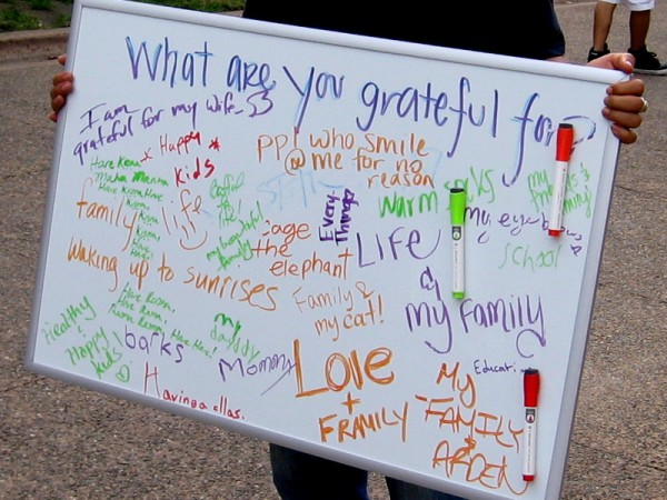 What are you grateful for? Random people write their thoughts. They are grateful for life, family, school, warm socks, waking up to sunrises, and people who smile for no reason.