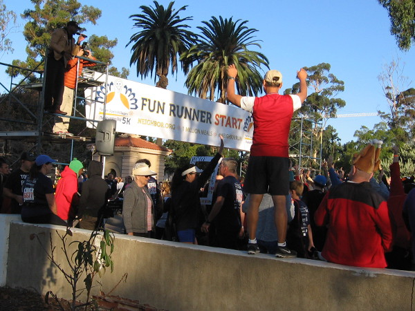 People get enthused a few minutes before the fun run begins.