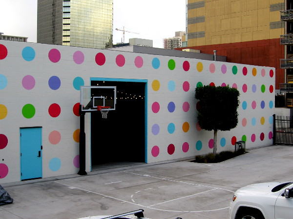 Colorful dots on the side of a building in downtown San Diego.