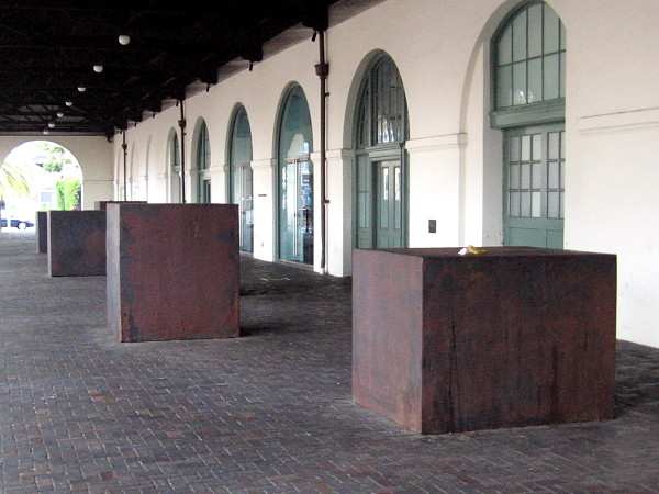 Steel cubes on west side of Museum of Contemporary Art San Diego, which is housed in the Santa Fe Depot's old baggage terminal. Art by Richard Serra, 2005.