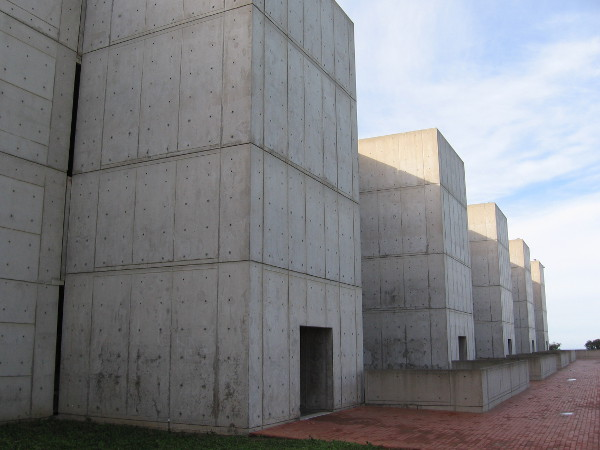 Photo of exterior of The Salk Institute for Biological Studies in La Jolla. The famous building was designed by renowned modernist architect Louis Kahn.
