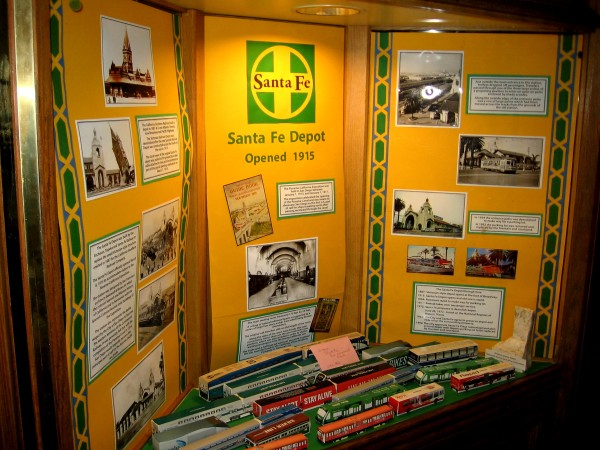 Display inside San Diego's 1915 Santa Fe Depot. Photos and words provide a glimpse of the train station's history.